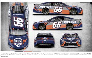 supreme transportation sponsors Timmy Hill # 66 Car