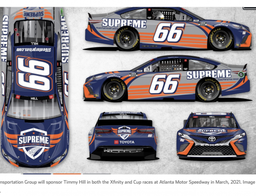 Supreme Transportation Group sponsoring Timmy Hill in Xfinity and Cup races at Atlanta Motor Speedway